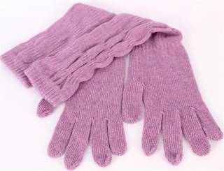 3/4 length scalluped wool mix gloves lilac S/LK2369
