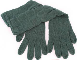 3/4 length scalluped wool mix gloves forest S/LK2369