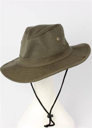 Mens cotton casual wide brim hat khaki Code:HS/5608