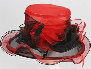 Organza fashion hat red Code:HS/1212