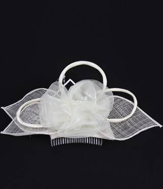 Fascinator in sinamay with organza flower Lime,Turq,Red, Ivory Code:HS/1250