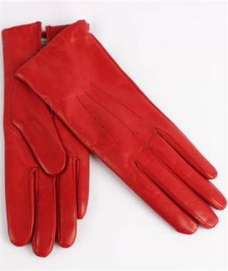 Italian Leather ladies glove with wool lining red Code-S/LL2362W