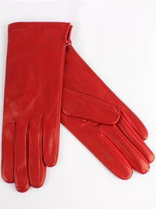 Italian Leather ladies glove with silk lining red Code-S/LL2394S