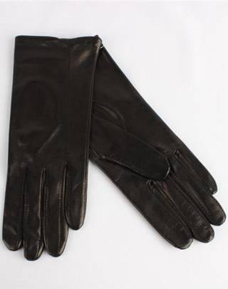 Italian Leather ladies glove with silk lining black Code-S/LL2867S