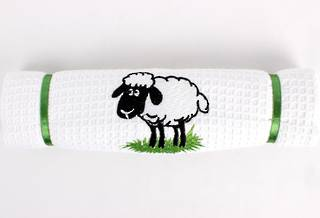 Embroidered pure cotton waffle weave souvenir tea towel 'sheep' Code: T/T-EMB/SHE
