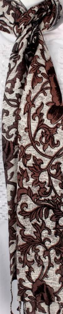 Pure viscose shawl/scarf Style: SC/WILLOW/BROWN