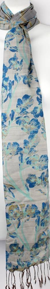 100% silk Indian handmade scarf  'aduh' blue/grey multi Style: SC/SUM16/8
