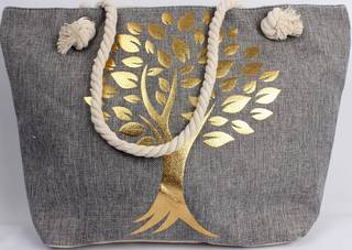 Carry bag w base and rope handle 'golden tree' print Style :AL/4693