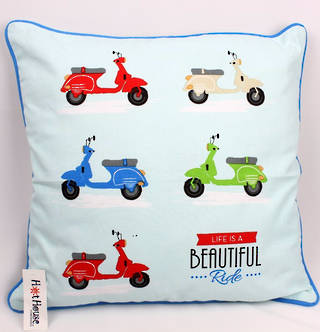 Scooter cushion cover(45x45cm) 'life is a beautiful ride' Code: CUS-CVR/SCOO