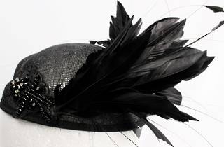 Hatinator in sinamay beeded w striking blk feathers,  black Style: HS/3015/BLK