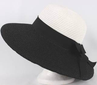 Braided hat w upturn/downturn option w blk bow white/black Style: HS/4225
