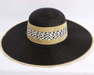 HEAD START  wide brim braided sunhat w nat trim,decorated band  Style: HS/4478BLK