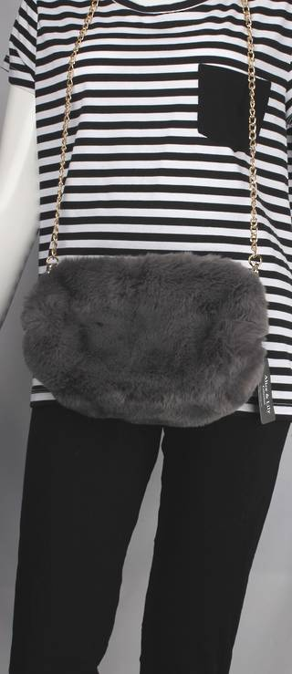Alice & Lily fur muff/hand bag w gold shoulder chain grey STYLE: AL/4412FB/GRY
