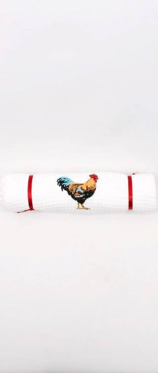 Tea Towel jacquard weave 'rooster' Code:TT-JAC/ROO/BLK