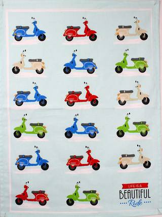 Scooter tea towel -'Life is a beautiful ride ' Code: T/T-SCOO