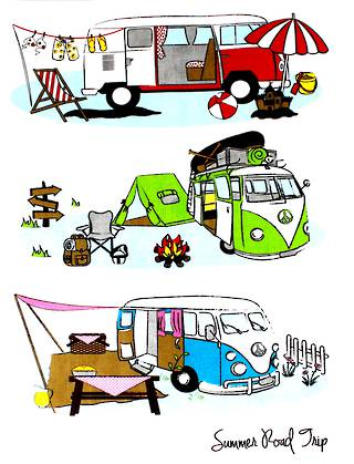 Tea towel summer road trip Code: T/T-SRT.
