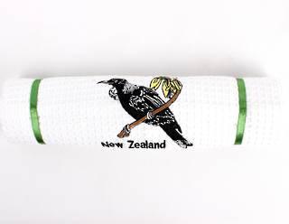 Embroidered pure cotton waffle weave souvenir tea towel 'tui' Code: T/T-EMB/TUI