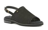 Walking Cradle Juliette Black Nubuck Sandal in a W and WW Width