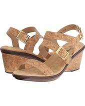 Walking Cradle Lean Cork Wedge Peep Toe in a W and WW Width