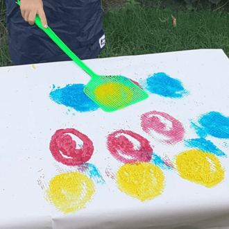Fly swat painting for toddlers & preschoolers