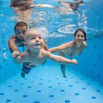Teaching kids how to put their head underwater