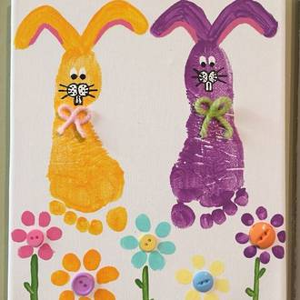 Easter bunny footprint art