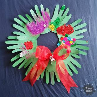 Kids handprint Christmas wreath