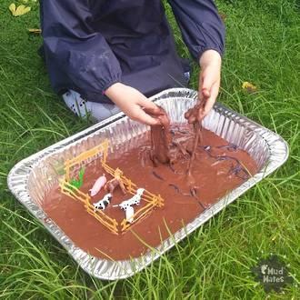 Edible mud sensory play activity