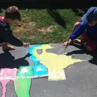 Exploding paint bags
