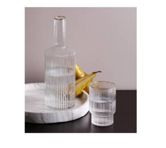 Luxe Striped Detail Water Decanter