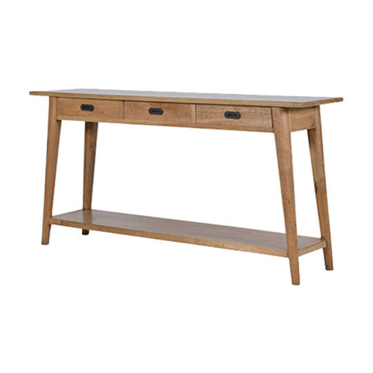 American Oak 3 Drawer Console Table