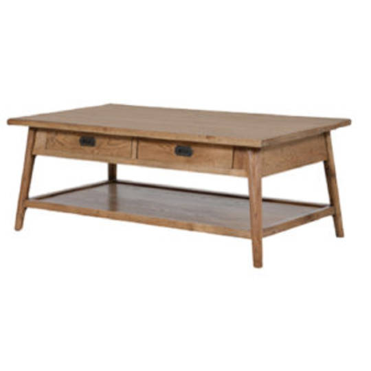 Antique Natural Two Drawer Coffee Table