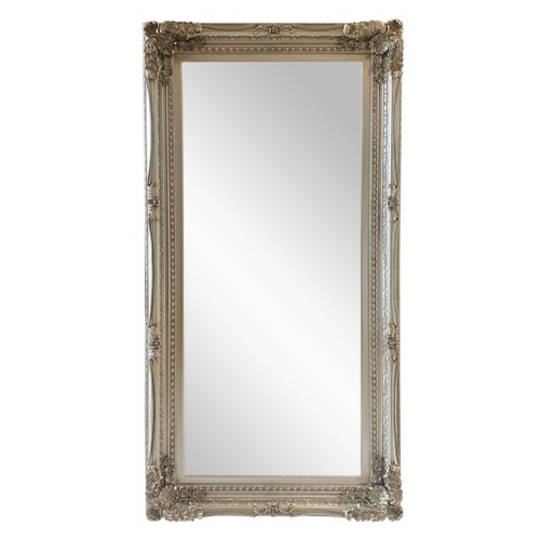 Antique Silver Ornate Mirror Large