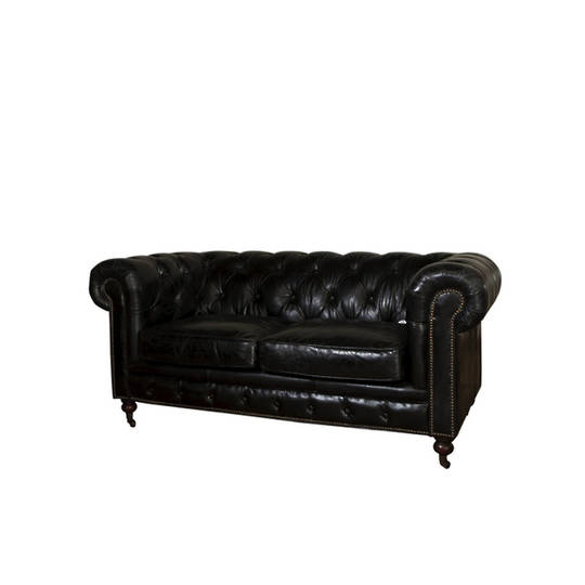 Chesterfield Aged Italian Leather Black 2 Seater