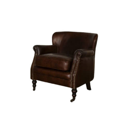 Clarence Aged Italian Leather Chair
