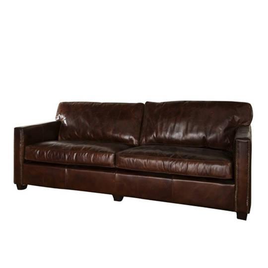 Buckingham Aged Italian Leather 3 Seater Brown