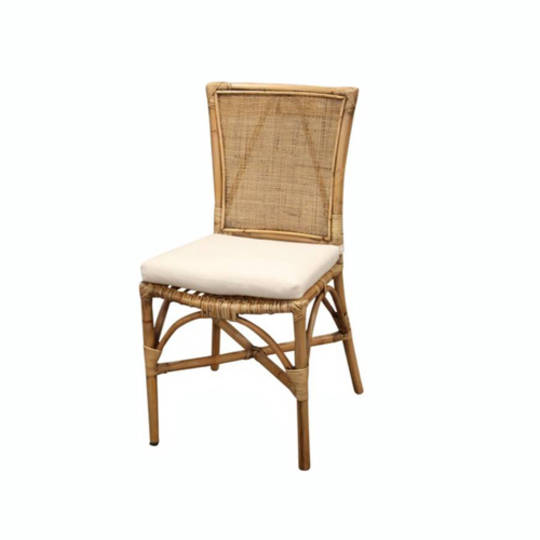 Bali Rattan Dining Chair with Linen Cushion Honey Brown