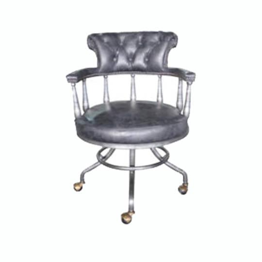 Captains Vintage Leather Office Chair Black