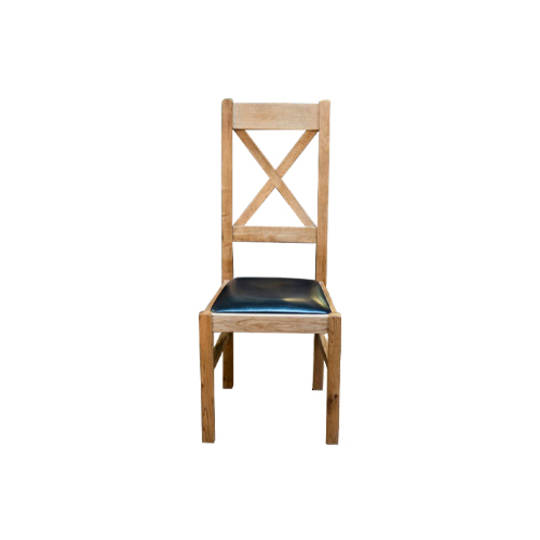 Chateau Oak Cross Back Leather Chairs - Dark Seat