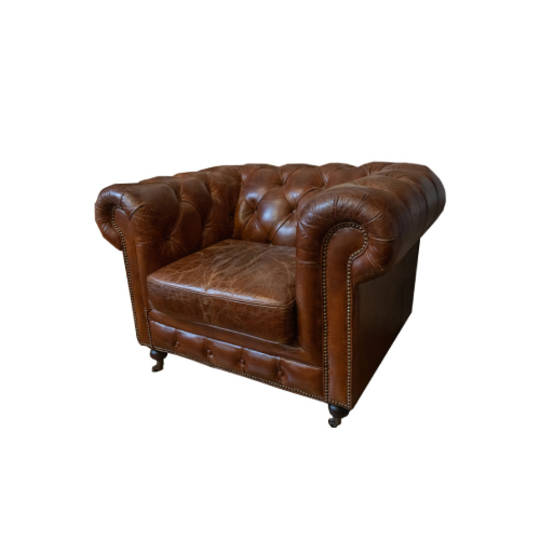 CHESTERFIELD AGED ITALIAN LEATHER 1 SEATER BROWN