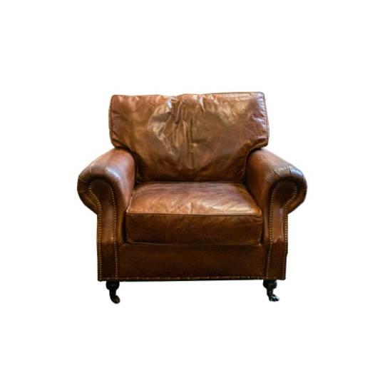 Churchill Aged Italian Leather Chair