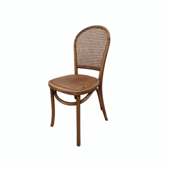 Meshach Rattan and Oak Dining Chair Natural Oak
