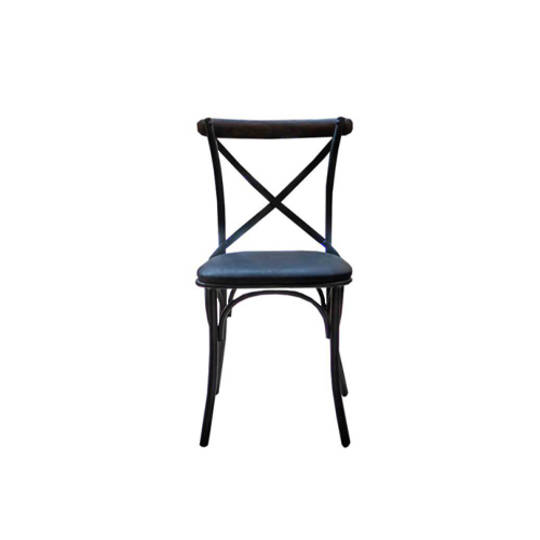 Cross Back Dining Chair With Black Leather Seat