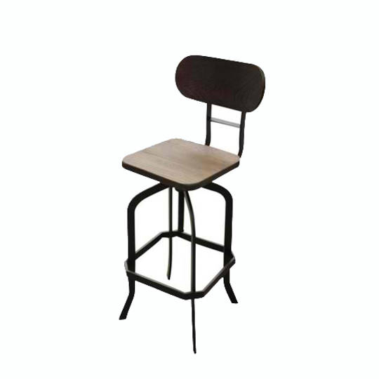 Delton Swivel Industrial Barstool With Elm Seat