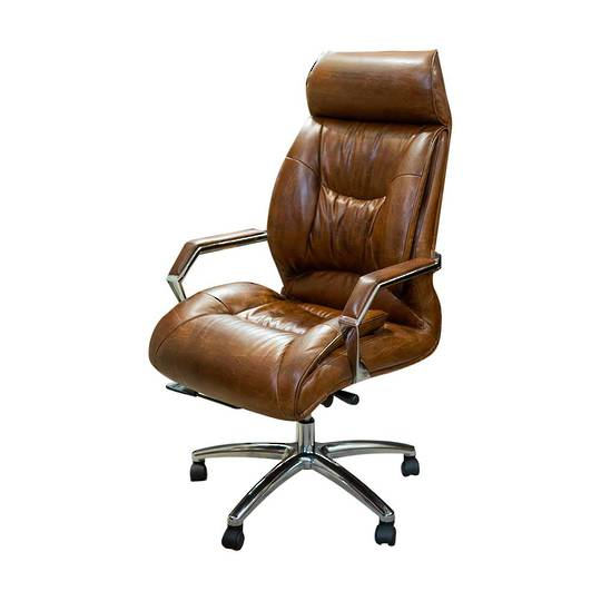 Edington High Back Adjustable Leather Office Chair - Vintage Cigar Brown