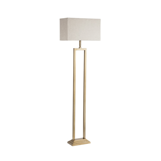 Floor Lamp With Natural Shade - Brass Antique