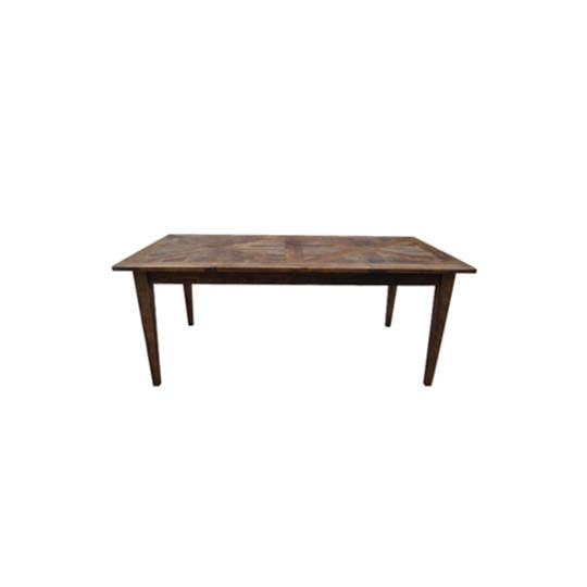 French Dining Table Recycled Elm Parquet Top 1.8M