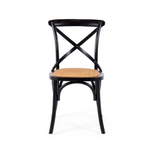 Freya X-Back Chair Aged Black Rattan Seat