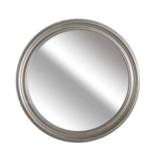 Grooved Round Beveled Mirror Silver