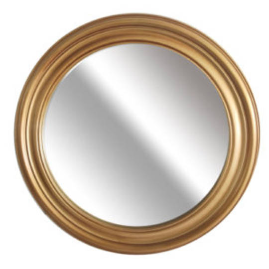 Grooved Round Beveled Mirror Gold